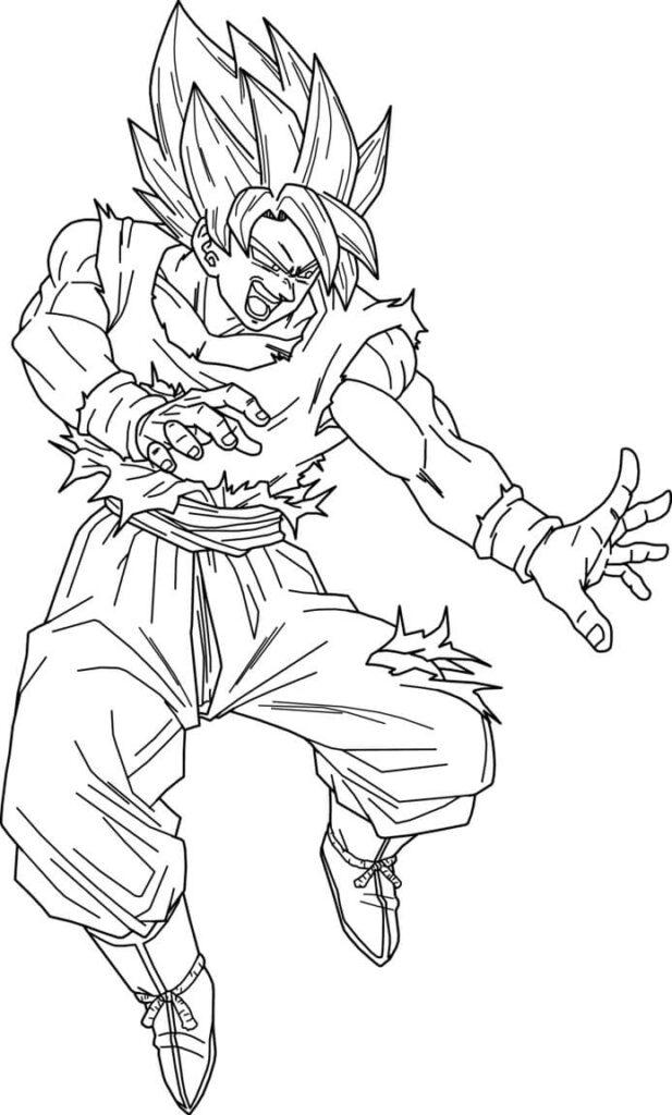 dibujos animados de goku para colorear