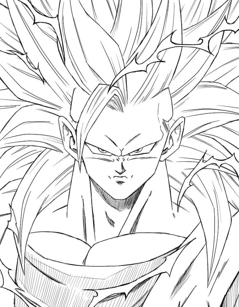 goku dibujo blanco y negro