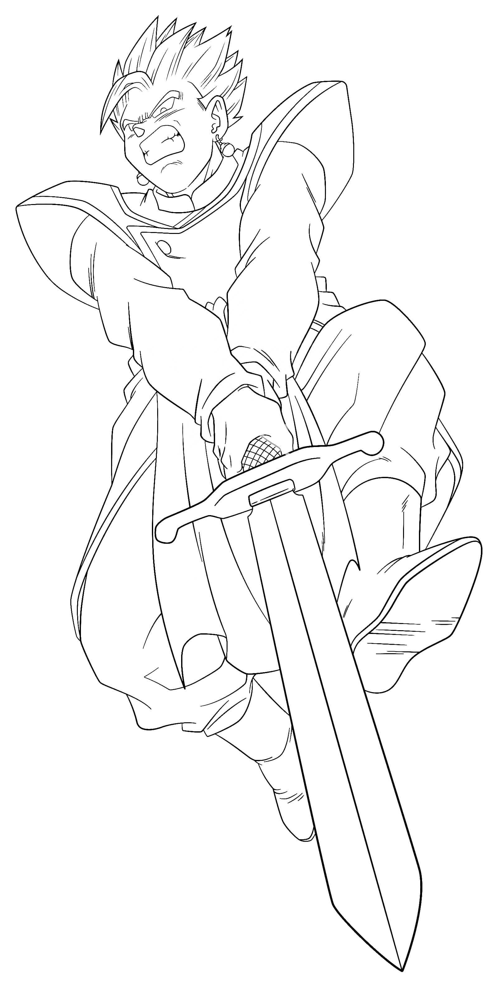 gohan espada z para colorear