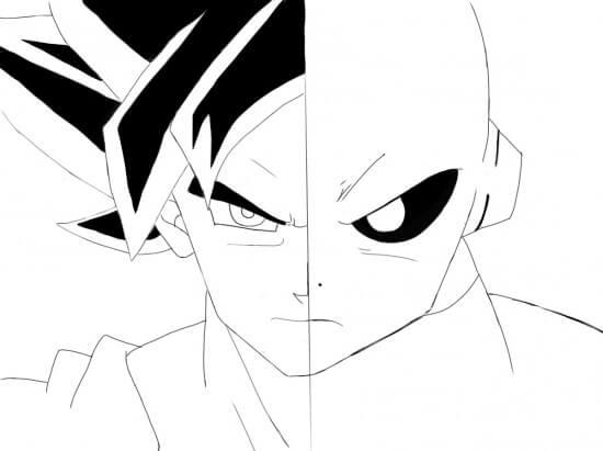 goku vs jiren dibujo para colorear