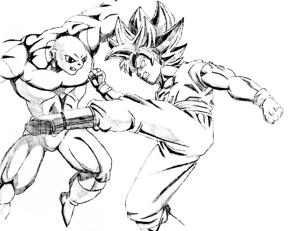 imagenes de goku vs jiren para colorear